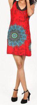 Robe courte imprimée ethnique-chic rouge Marysia 271687