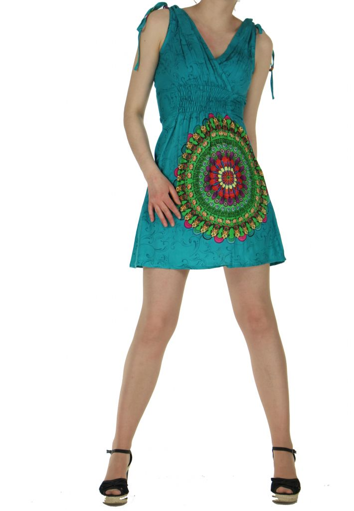 Robe courte imprimée fashion nawar bleue 261014