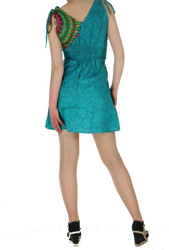 Robe courte imprimée fashion nawar bleue 261015