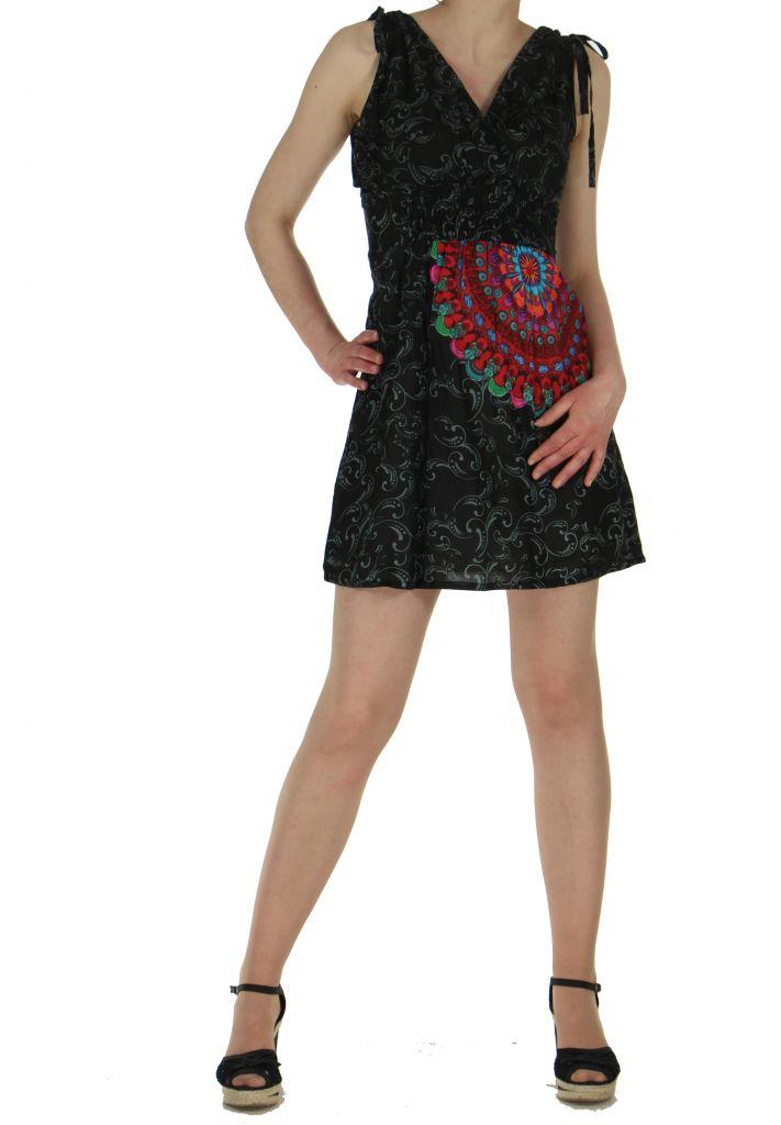 Robe courte imprimée fashion nawar noire 261016
