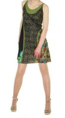 Robe courte imprimée floral col kaki 245576