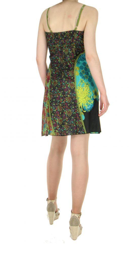 Robe courte imprimée floral col kaki 255527