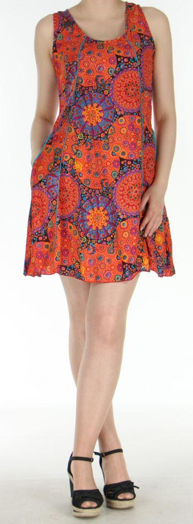 Robe courte imprimée orange de fleurs en viscose Lalou 270486