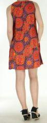 Robe courte imprimée orange de fleurs en viscose Lalou 270487