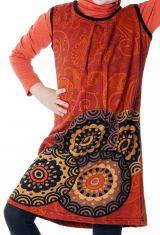 Robe courte imprimée orange sans manche pour enfant 287156