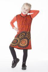 Robe courte imprimée orange sans manche pour enfant 287157