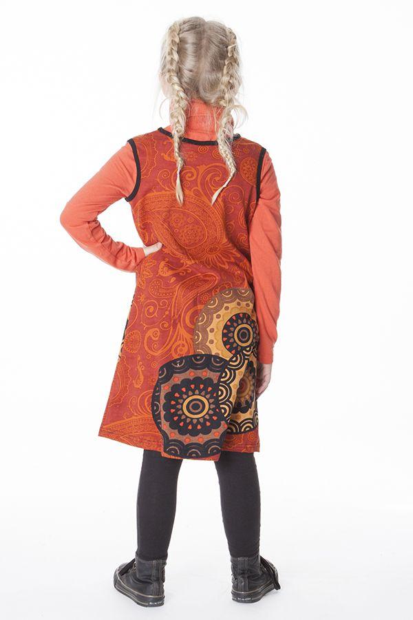 Robe courte imprimée orange sans manche pour enfant 287158