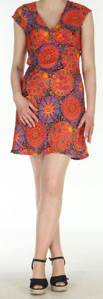 Robe courte imprimée orange sans manches Helena 270568