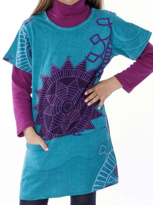 Robe courte imprimée pour fille de couleur bleu 287251