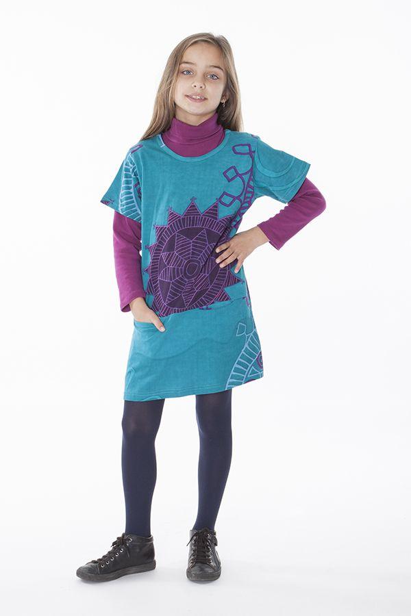 Robe courte imprimée pour fille de couleur bleu 287252