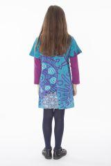 Robe courte imprimée pour fille de couleur bleu 287253