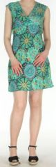Robe courte imprimée turquoise sans manches Helena 270572