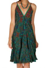 Robe courte imprimée vert turquoise chic et tendance Beverly 308905