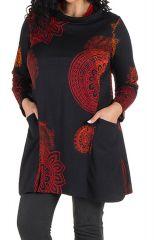 Robe courte imprimés mandala à manches longues Fire 301979