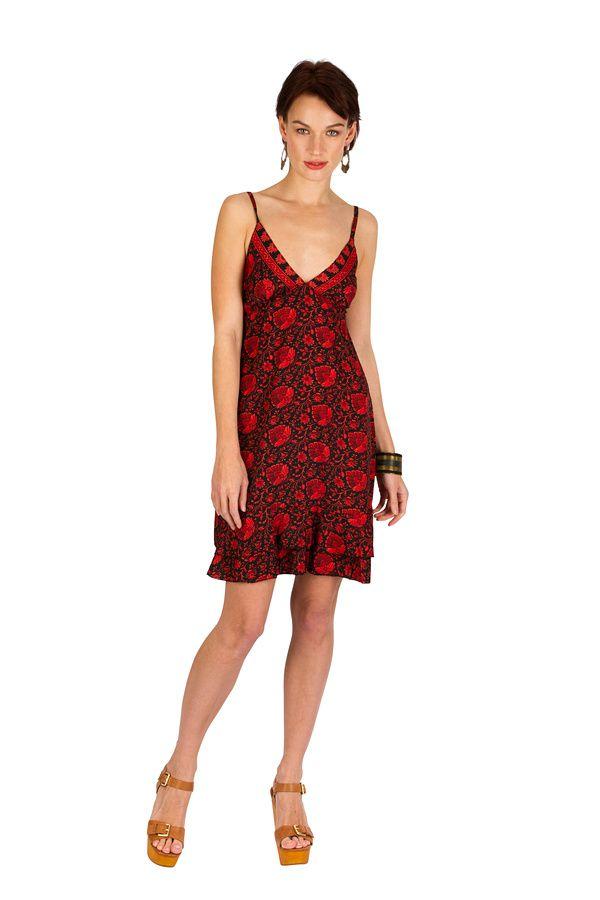 Robe-courte légère à fines bretelles et smocks rouge Ramona 293506