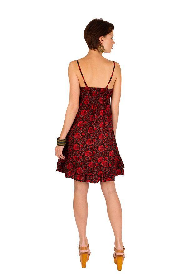 Robe-courte légère à fines bretelles et smocks rouge Ramona 293507