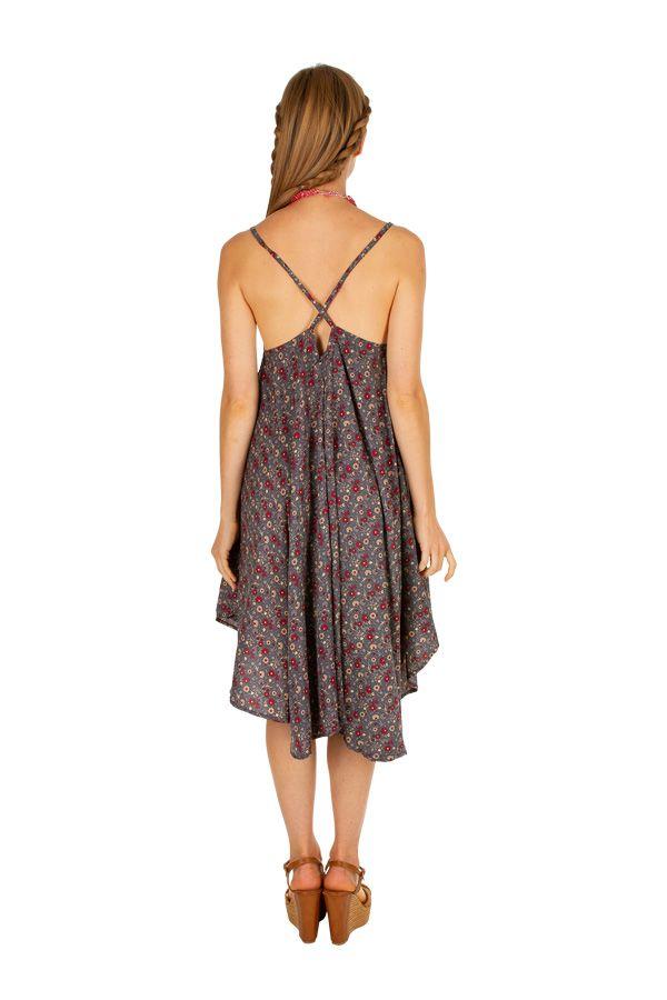 Robe courte légère avec un imprimé vintage tendance Maka