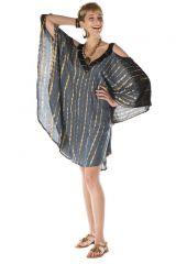 robe courte manche chauve souris col V ethnique Jesobel 288224