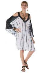 robe courte manche chauve souris epaules nues ethnique Laly 288222