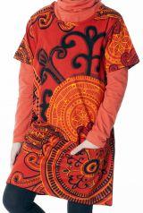 Robe courte manches 3/4 tons orange pour fille 287257