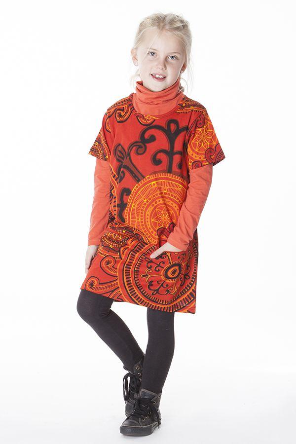 Robe courte manches 3/4 tons orange pour fille 287258