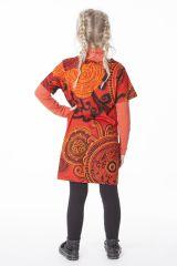 Robe courte manches 3/4 tons orange pour fille 287259