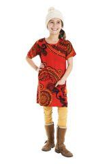 Robe courte manches 3/4 tons orange pour fille 302212
