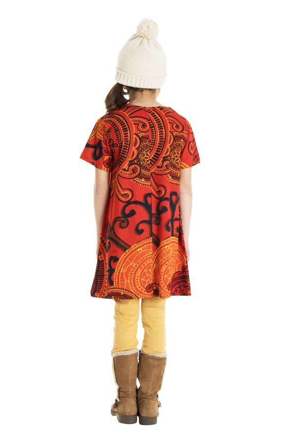 Robe courte manches 3/4 tons orange pour fille 302213