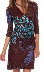 Robe courte Marron et Bleue Originale à effet portefeuille Carel 282150