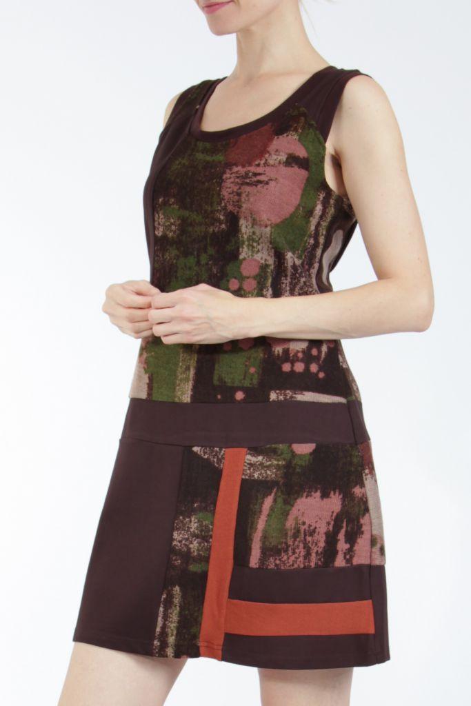 Robe courte marron sans manches chic et tendance Emily 304829