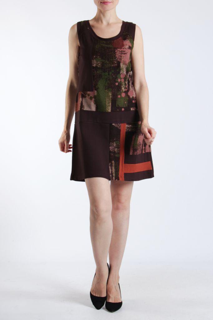 Robe courte marron sans manches chic et tendance Emily 304830