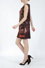 Robe courte marron sans manches chic et tendance Emily 304831