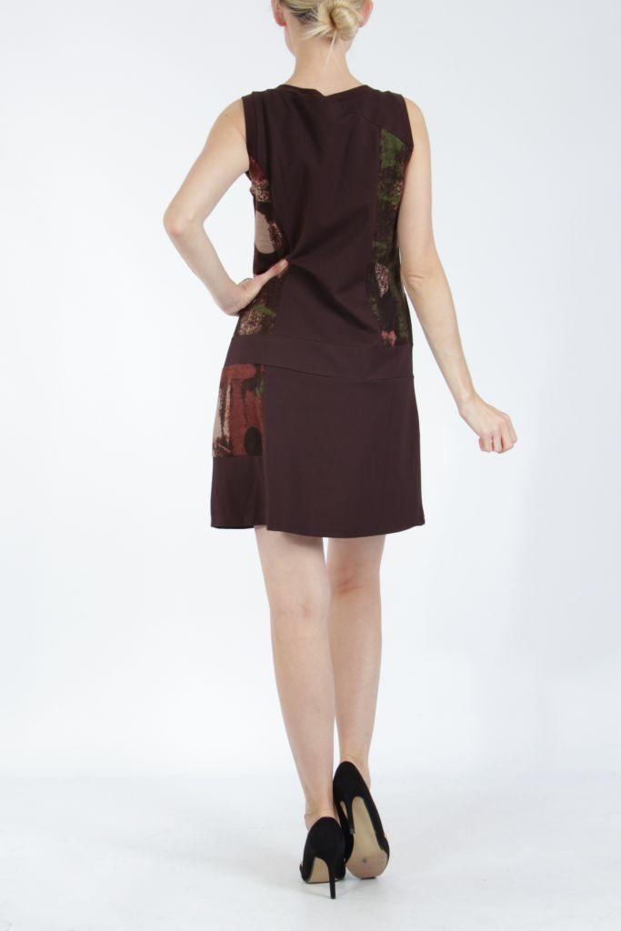 Robe courte marron sans manches chic et tendance Emily 304832