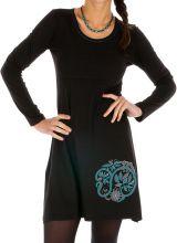 Robe courte noire à col rond originale et tendance Galafi 314050