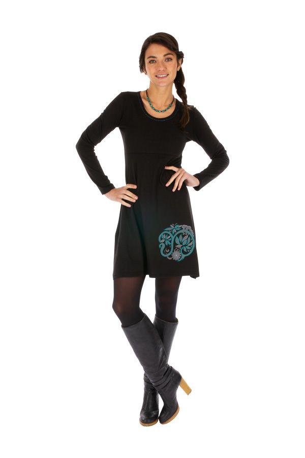 Robe courte noire à col rond originale et tendance Galafi 314051