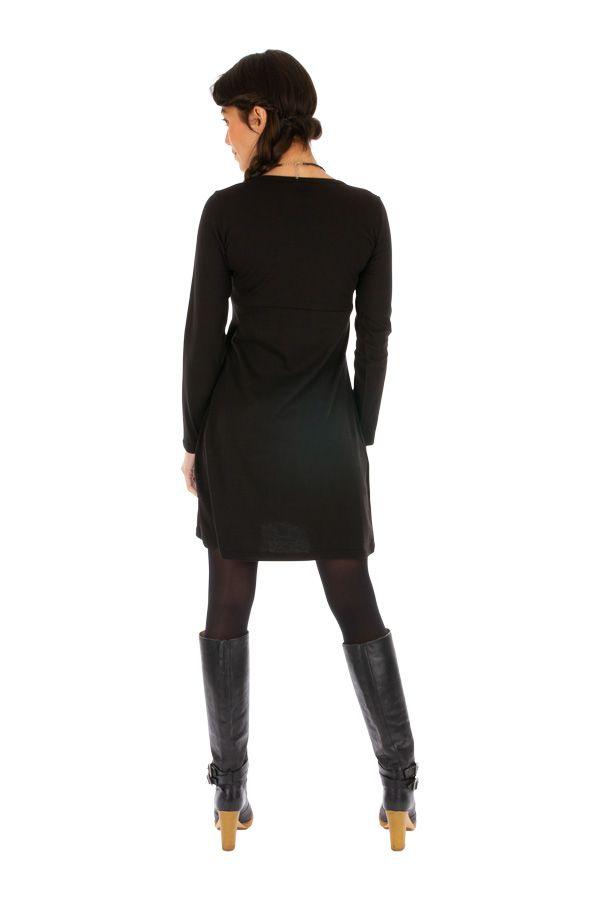 Robe courte noire à col rond originale et tendance Galafi 314052