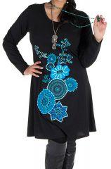 Robe courte noire à manches longues et motifs brodés bleue Rivers 302164