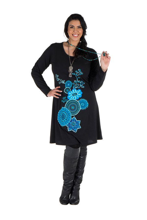 Robe courte noire à manches longues et motifs brodés bleue Rivers 302165