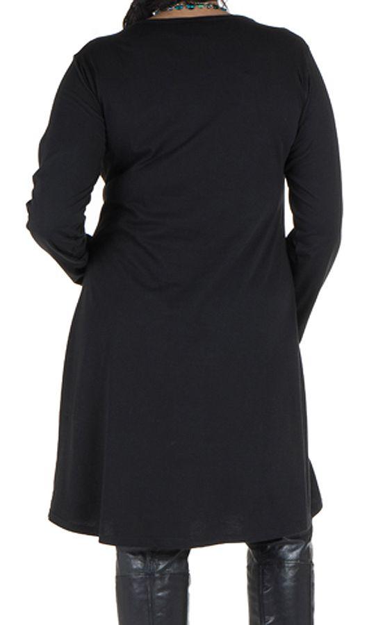 Robe courte noire à manches longues et motifs brodés bleue Rivers 302166
