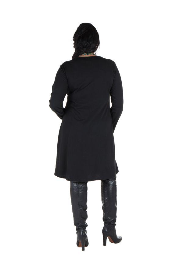 Robe courte noire à manches longues et motifs brodés bleue Rivers 302167