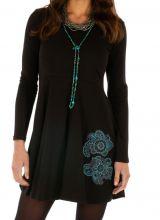 Robe courte noire à manches longues originale Barakani 313931