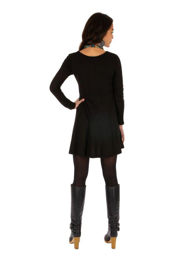 Robe courte noire à manches longues originale Barakani 313933