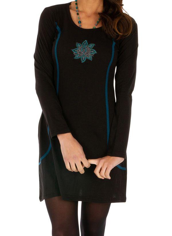 Robe courte noire à poches ethnique et originale Okondja 312701