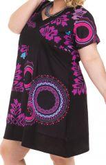 Robe courte Noire à rosace Grande Taille Mounia Ethnique et Colorée 284439