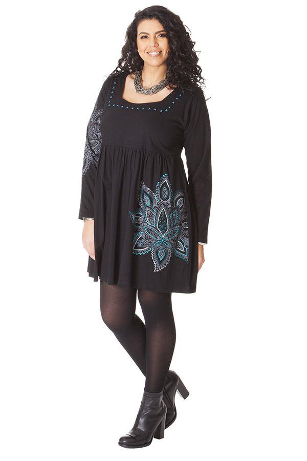 Robe courte Noire Chic et Ethnique en grande taille Nyasia 286127