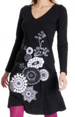 Robe courte Noire Dorothée à imprimés brodés Blancs et col V 286821