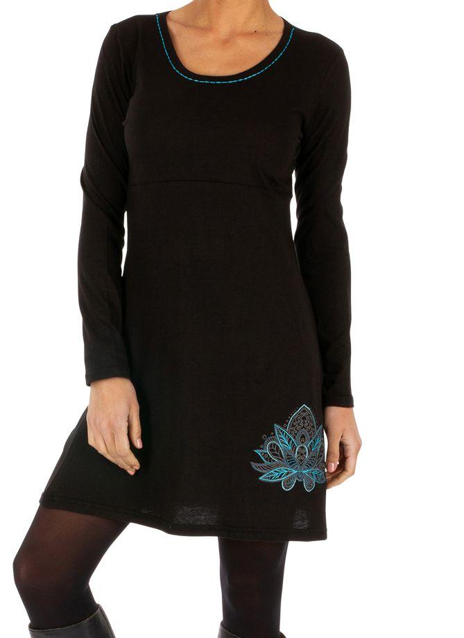 Robe courte noire du Népal à manches longues Séguéla 314017