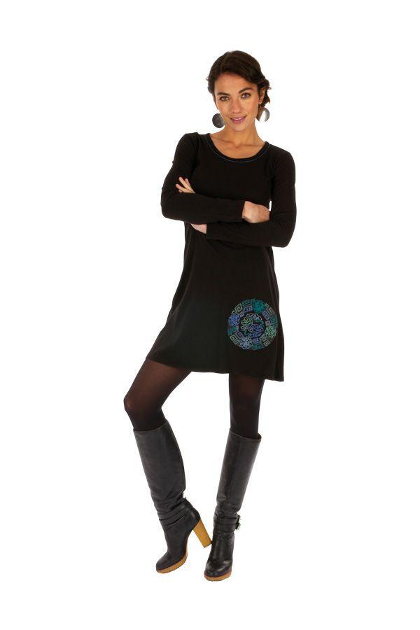 Robe courte noire du Népal ethnique et brodée Toumodi 314045