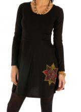 Robe courte noire du Népal imprimée et pas chère Daloa 313993