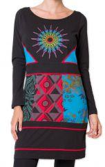 Robe courte Noire du Népal Originale et Colorée Petchorra 278839